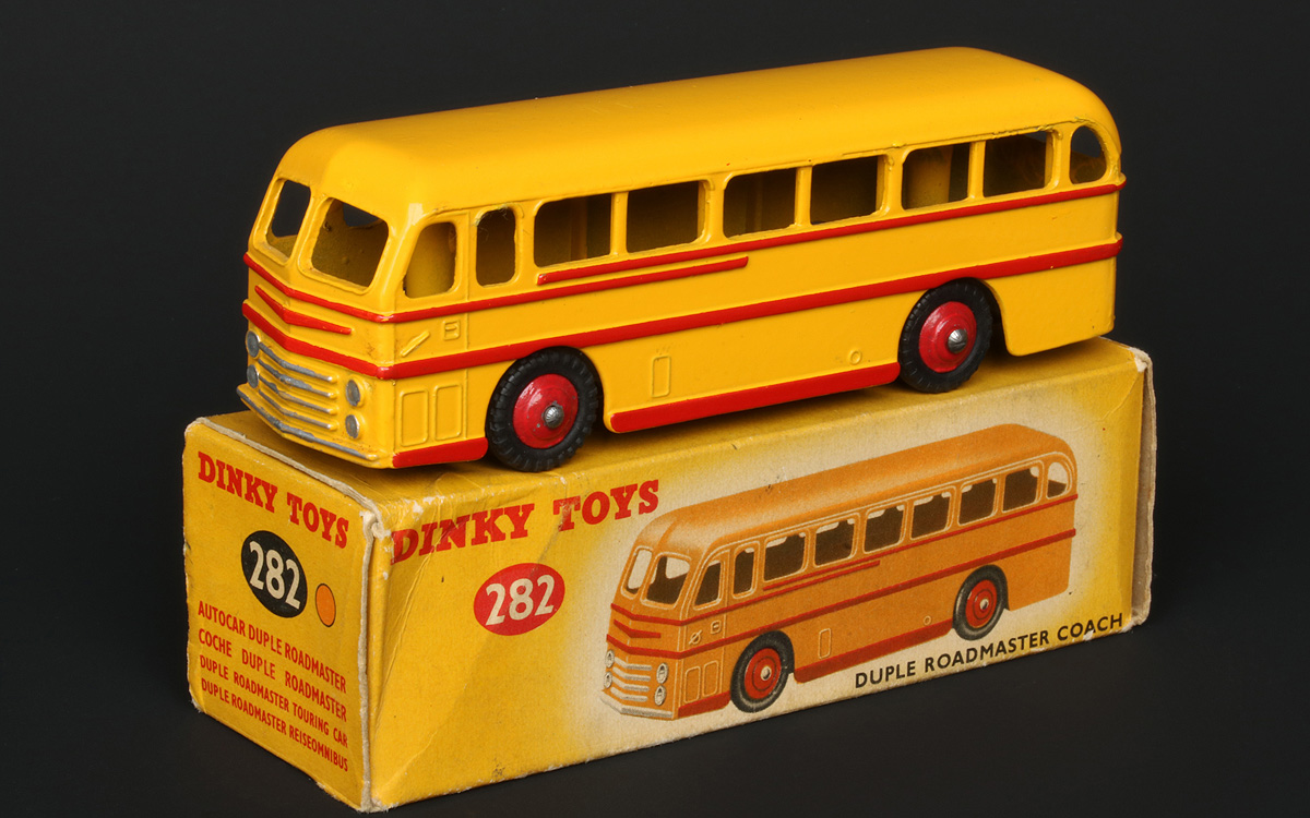 RED DINKY TOY 282 QUALITY REPRO BOX DUPLE ROADMASTER COACH